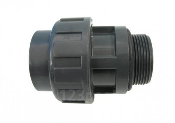 PVC-Übergangs-Verschraubung Klebeanschluss/Außengewinde mit O-Ring