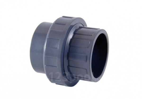 """PVC-Übergangs-Verschraubung Klebeanschluss/Innengewinde Ø 50 mm x 1 1/2"""" IG, grau, PN 10"""