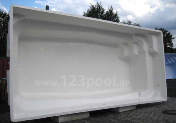 GFK-Pool MAXI EVOLUTIVE mit Unterflur-Rollladen 700 x 300 x 140 cm