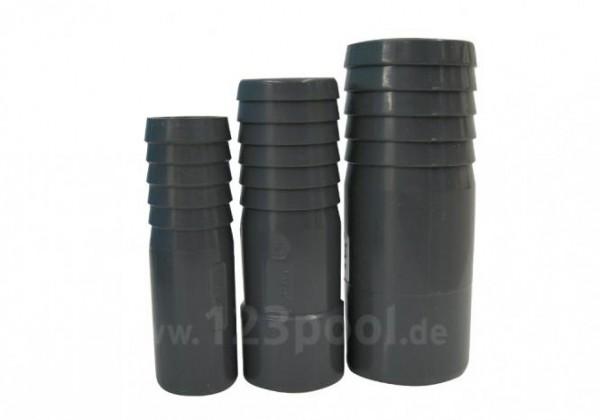PVC-Druckschlauchtülle grau mit Klebeanschluss