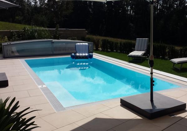 PP-Überlaufpool THEBEN 900 x 340 x 150 cm inkl. kompletter Pooltechnik