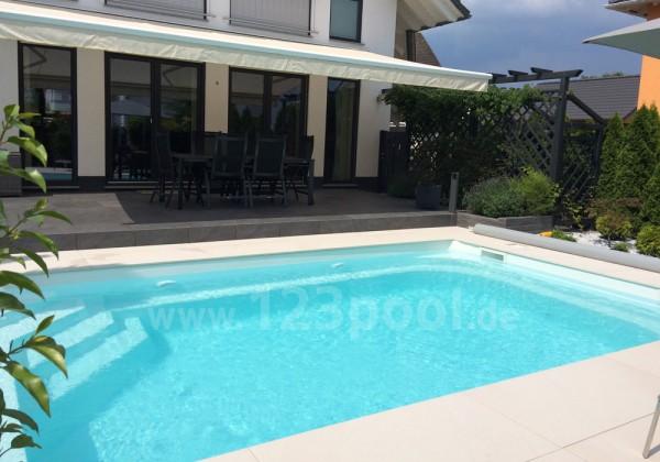GFK-Pool NOVA DETENTE 7 mit Wärmepumpe, Abdeckung und Technik 700 x 368 x 158 cm