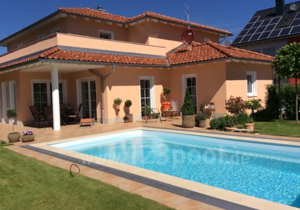 GFK-Pool NOVA DETENTE 7 mit Abdeckung und Wärmepumpe 700 x 368 x 158 cm