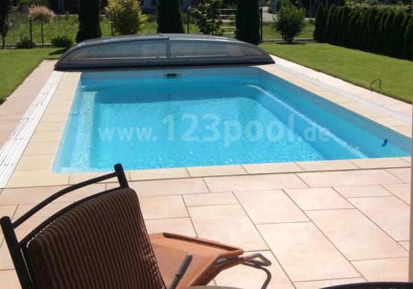 GFK-Pool NOVA DETENTE 8 mit Rollladen und Technik-Paket 800 x 400 x 158 cm
