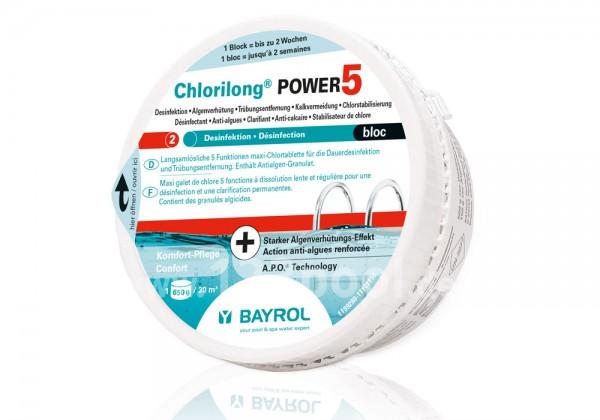 BAYROL Chlorilong POWER 5 Bloc 650 g Maxi-Chlortablette