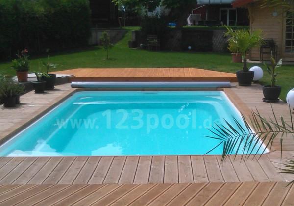 GFK-Pool NOVA DETENTE 6 mit Abdeckung und Technik-Paket 600 x 368 x 158 cm