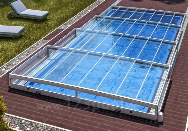 Schiebeüberdachung HORIZONT ohne Schienen 350 x 640 x 38 cm