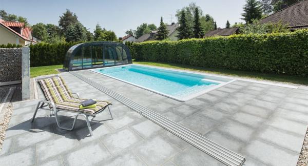NAUTILUS-Pool APHRODITE 900 x 380 x 150 cm mit BAC Unterflurrolladen