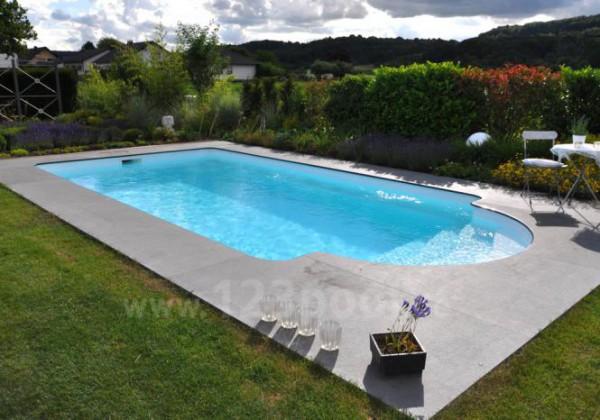 GFK-Pool ROMA mit Unterflur-Rollladen und Technik-Set 860 x 350 x 155 cm