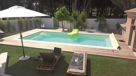 GFK-Pool PLAISANCE 8 mit Oberflur-Rollladen und Technik-Paket 800 x 400 x 150 cm