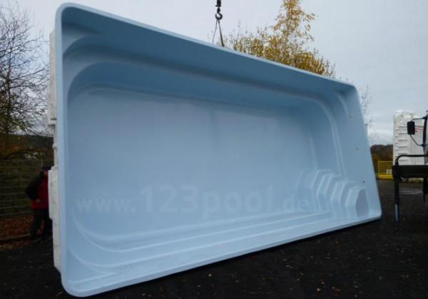 GFK-Pool NOVA CONFORT mit Unterflur-Rollladen 890 x 368 x 158 cm